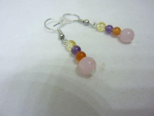 Boucles d/'oreilles Amethyste-cornaline-citrine-quartz rose joie tendresse