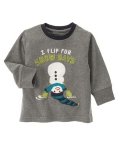 GYMBOREE SNOW DAYS GRAY I flip for snow days SNOWMAN L//S TEE 3 6 12 4T NWT