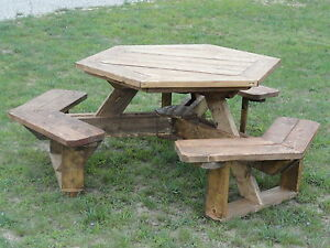 Image Is Loading Hexagon Picnic Table Plans