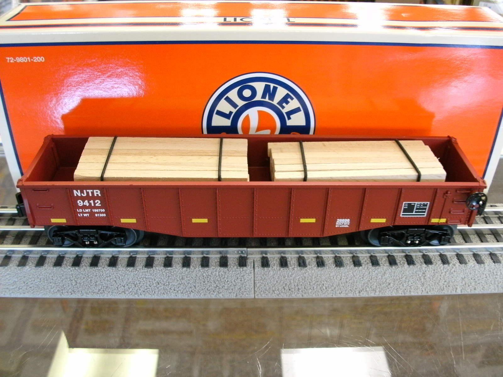 Lionel O-gauge NJ Transit Gondola car w wood tie load  - 2012 issue  6-26696