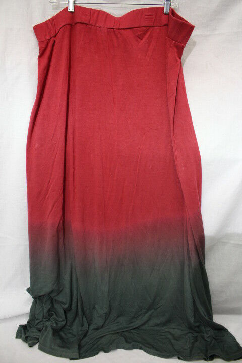 PURE ENERGY Red & Green OMBRE Long Maxi Skirt Womens Size 4X-B44