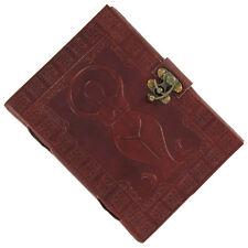 Goddess Triad Pentagram Embossed Blank  Leather Journal Diary