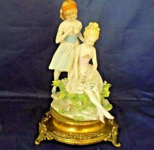 Capodimonte-Benacchio-Triade-034-2-Girls-Reading-Book-034-Figurines-on-Brass-Base