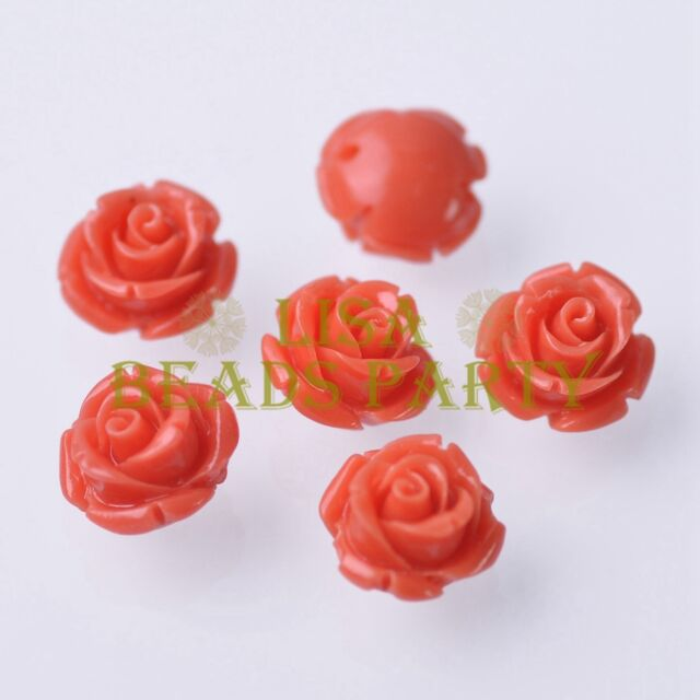 New 10pcs 12mm Rose Flower Synthetic Coral Charms Loose Spacer Beads Lt Orange