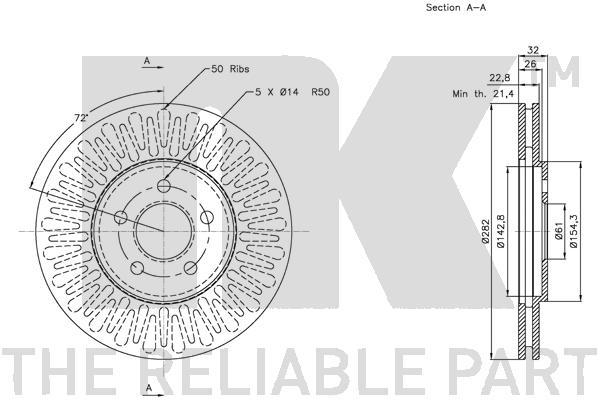 Bremsscheibe (2 Stück) COATED CHRYSLER DODGE PLYMOUTH - NK 319315