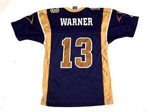 f229e74e Details about Vintage Champion Rams NFL Kids Kurt Warner #13 Size 6-8 S  Jersey Blue Gold Nylon