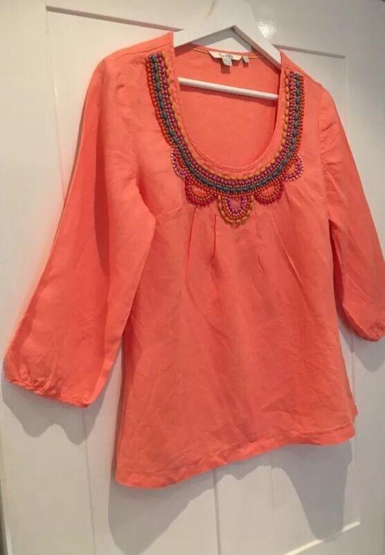 Sunny Ladies Boden Neon Peach Scoop Neck Top Size 10 8 Linen Beaded Boho Kaftan Tunic Driving A Roaring Trade