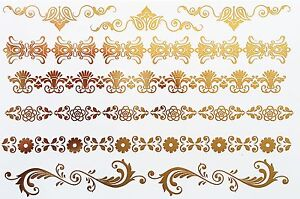 Tattoo-Disposable-Flash-Adhesive-Temporary-Golden-8-Pieces-Bracelet-Ring-Henna