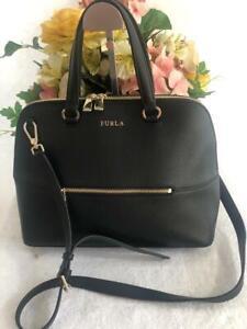 NWOT-Furla-Dome-Handbag-BLACK-Leather-Satchel-convertible-bag-purse-p190