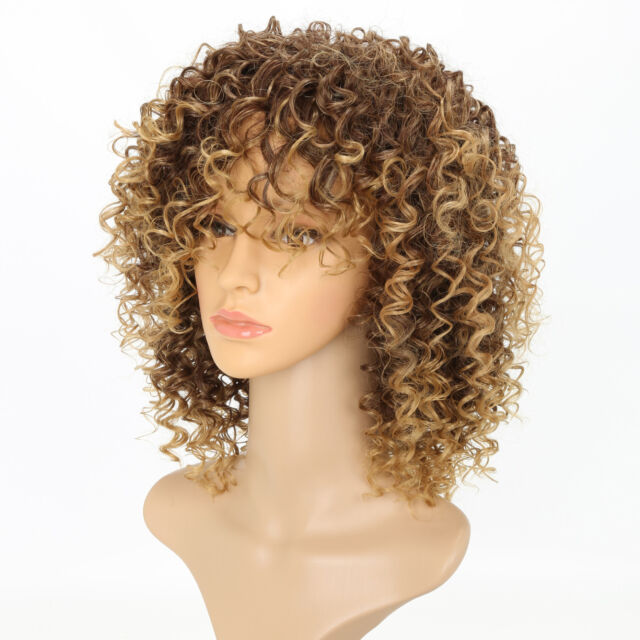 UK Womens Blonde Short Kinky Curly Wigs Ladies Natural Wavy Hair Cosplay Wig 9da4512d55
