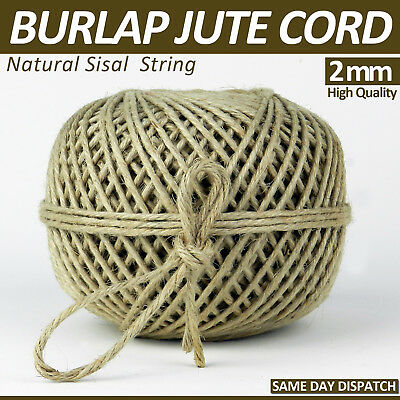 100 Meters 3 Ply 100/% Natural Jute Hessian Burlap Twine String Cord