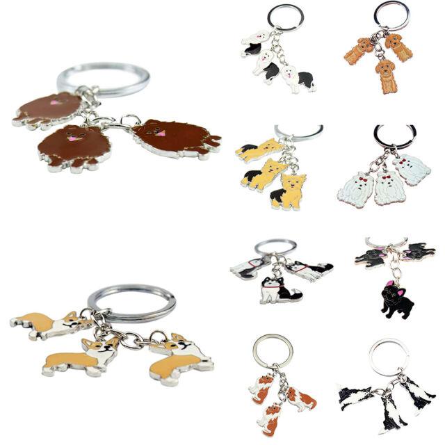 EB_ Cute Bulldog Car Key Chain Bouledogue Dog Pendant Key Ring DIY Keychains Gif