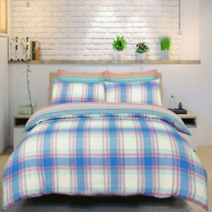 Duvet-Bed-Set-Double-Cotton-Polyester-Bedset-Checked-Blue-Bedding-Set-Reversible