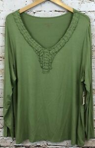 Coldwater-Creek-shirt-top-womens-2X-ruffled-vneck-long-slv-shirred-green-new-M3