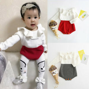 40daa471fa6a5 Details about Kids Baby Girls Knitted Sweater Romper Bodysuit Winter  Princess Jumpsuit Clothes