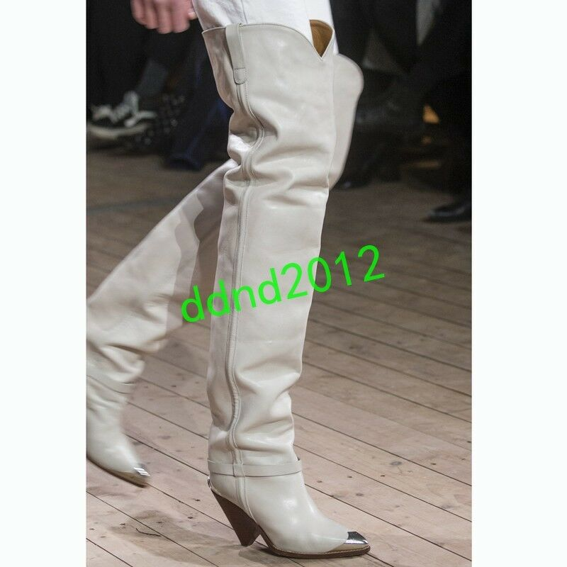 in linea Punk donna Real Leather Leather Leather Metal Toe Pull On Heel Over Cone Heel Knee stivali Runway  migliore vendita