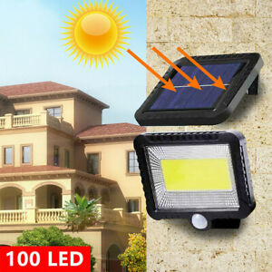 Lampe-Solaire-a-100LED-Detecteur-de-Mouvement-Spots-Eclairage-Mural-Jardin-Chaud