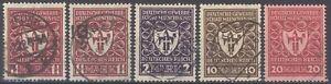 Dt-Reich-Mi-Nr-199-204-in-fast-allen-Farben-gestempelt-geprueft-Infla-31583