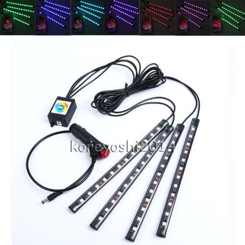 Car Interior RGB color LED 4 Strip Light Atmosphere Decorative 12 LED Neon Lamp