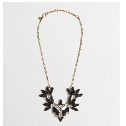 J.CREW Factory Layered Crystal Black White Stone Gold Statement Necklace NWT