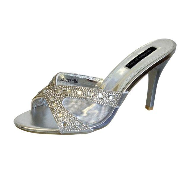 Ladies Silver diamante Stiletto Heel Mule Sandals Wedding Evening Size 4 5 6 7