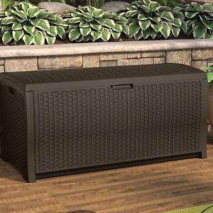 Outdoor Large Storage Box Deck Chest Wicker Cushion Bin ...