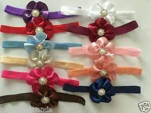 Baby-Girls-Bow-Headbands-Flower-Elastic-Band-White-Christening-Wedding-Lot