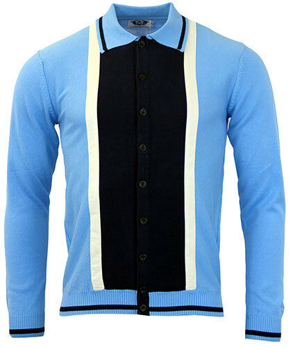 NEW  MADCAP RETRO MOD 60s SUEDE MARRIOTT CARDIGAN POLO SHIRT Blau MC200 G11A B C  | Online Shop Europe