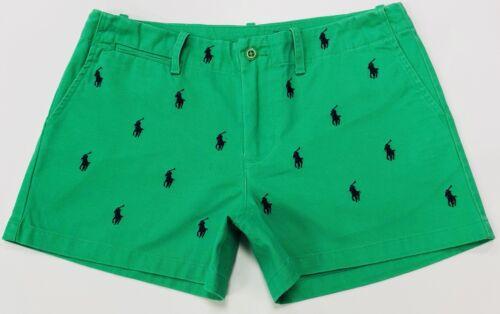 Ralph Lauren Donna Pantaloncini Pony ricoperta in verde smeraldo RRP £ 98