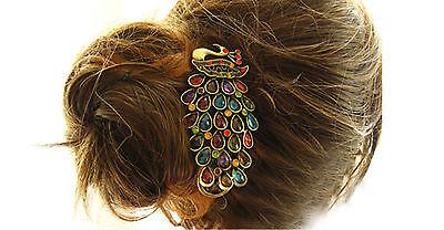 Fashion Vintage Womens Colorful Rhinestone Peacock Hairpin Hair Clip New 2016