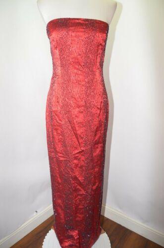 VTG 90s CACHE Red Black Beaded Sequin Animal Print