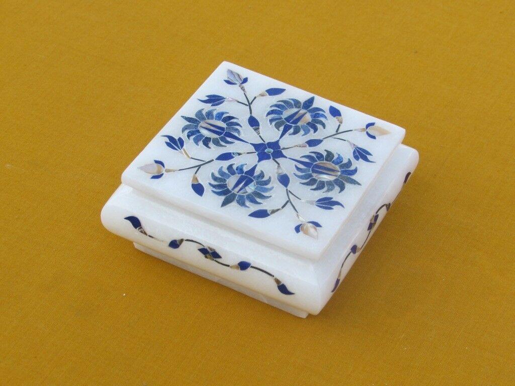 4  x 4 x 1.5  Jewelry Box Decorative Stone Lapis Pietra dura Home Decor