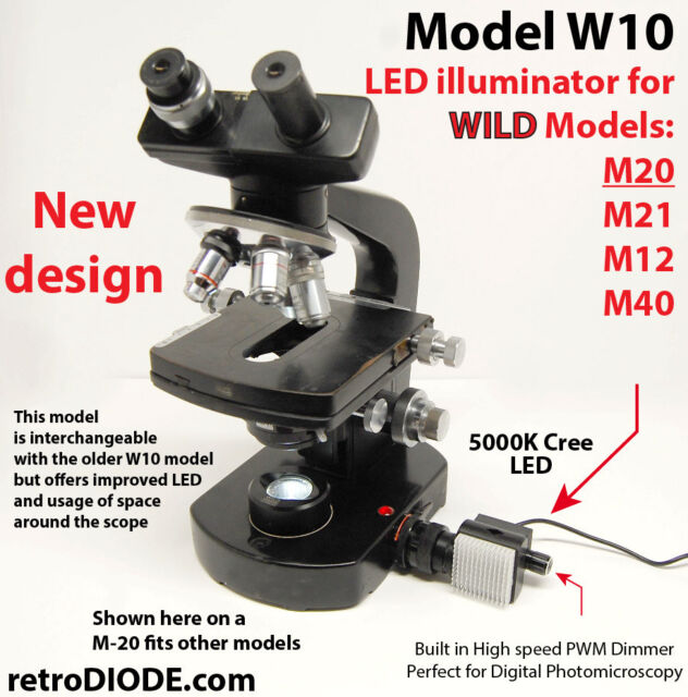 LED illuminator retrofit Kit with dimmer control for older WILD microscopes.