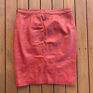 Laura-Ashley-Size-12-100-Leather-Pencil-Skirt-Red-Knee-Length-Business-Cocktail