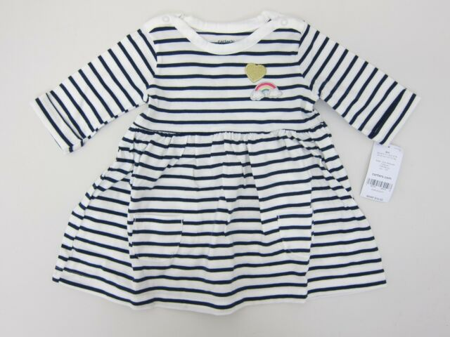 d87a00223 Carter's Girl's Striped Dress and Diaper Cover 6 Months White/Navy NWT