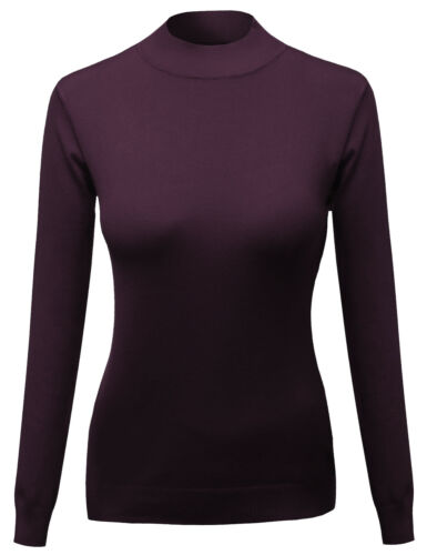 FashionOutfit Women/'s Silky Mock Turtle Neck Long sleeves Knit Top Sweater