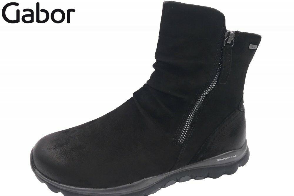 Gabor 96957 47 Leder Schuhe Tex Schwarz Stiefel Damen