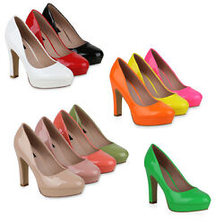 Damen Plateau Pumps Lack High Heels Stiletto Party Abendschuhe 822457 Schuhe