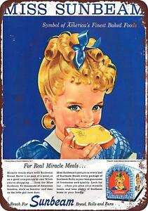 "1950's Miss Sunbeam Bread Vintage Rustic Retro Metal Sign 8"" x 12"""