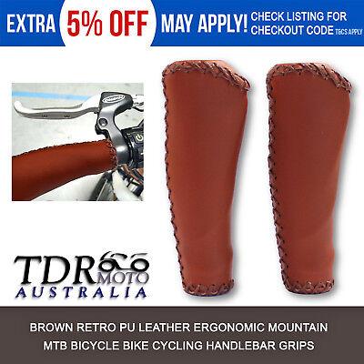 Retro PU Leather Grips MTB Mountain Bike Cycling Bicycle Handlebar Hand Grips