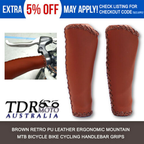 MTB BMX Road Mountain Bike Bicycle Cycling Stitched PU Leather Handlebar Grips