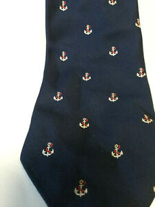Vintage-Navy-Blue-Anchor-Nautical-Ship-Necktie-BARRY-OF-LONDON-Tie-Polyester