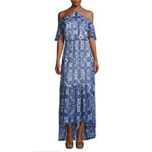 ea9dcfacb5 New JCPenney Belle Sky Cold Shoulder Halter Maxi Dress Size Large | eBay
