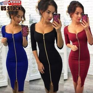 Women-039-s-Sexy-V-Neck-Bodycon-Zipper-Dress-Ladies-Party-Cocktail-Evening-Dresses