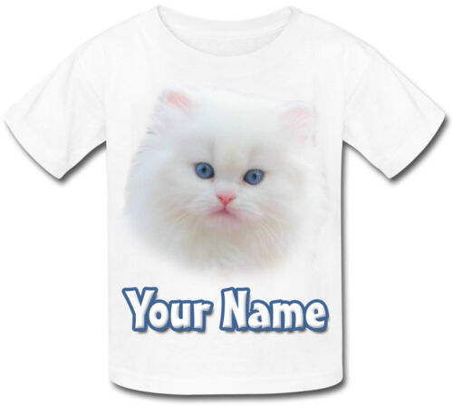 GREAT KIDS GIFT /& NAMED TOO WHITE KITTEN CAT PERSONALISED CHILDS T-SHIRT