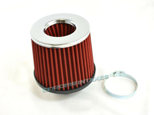 """RED UNIVERSAL 2.5/"""" CHROME TOP AIR FILTER FOR NISSAN SHORT//COLD AIR INTAKE"""