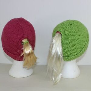 Image is loading PRINTED-KNITTING-INSTRUCTIONS-2-PONYTAIL-BEANIE-HATS- KNITTING- 174ac01eea5