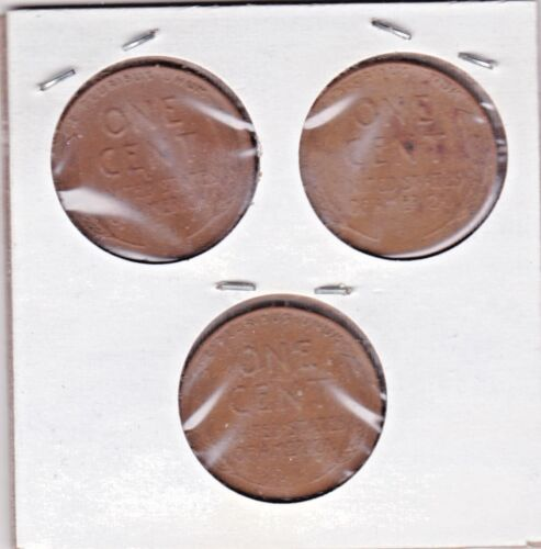 stk99 3 coins 1942 P,D,and S Lincoln cents in VERY GOOD AND BETTER  condition