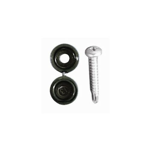 Black Pack Of 20 Pearl Consumables Number Plate Drill Screws /& Caps