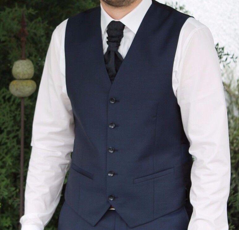 Hochzeits Set, Plastron Tuch und Weste Wilvorst Größe 50 dunkelblau schwarz